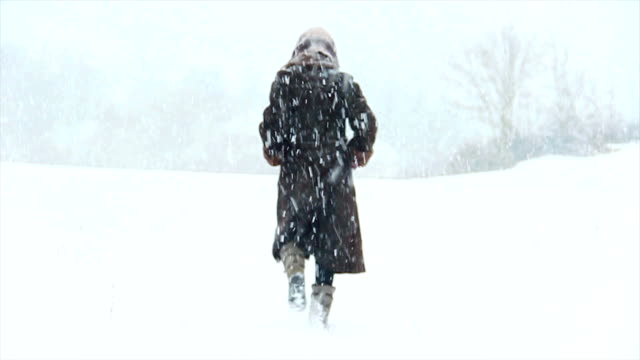 attractive girl walking in the snow