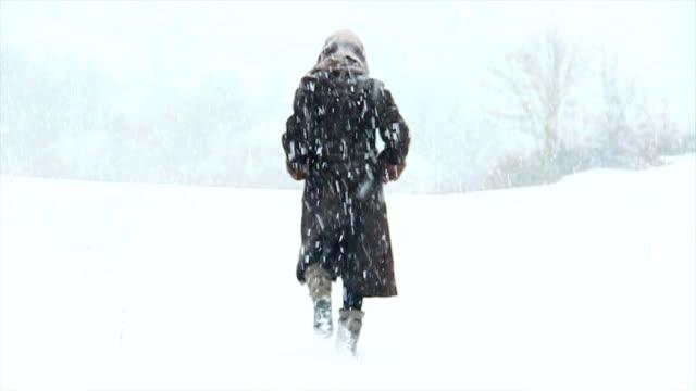 attraktiva flicka promenader i snön