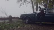 Attractive man gets into vintage car