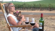Attractive Woman Enjoying a Picnic in the Vineyard with her Adorable Lap Dog.