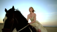 (Slow Motion) Attractive Woman Riding Horse 01