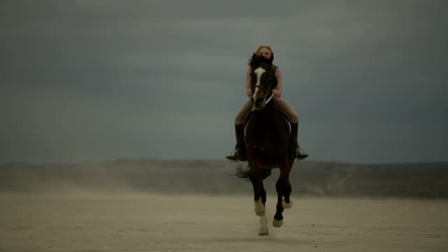(Slow Motion) Attractive Woman Riding Horse 06