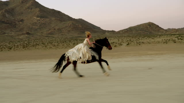 Attraktive Frau Reiten Pferd