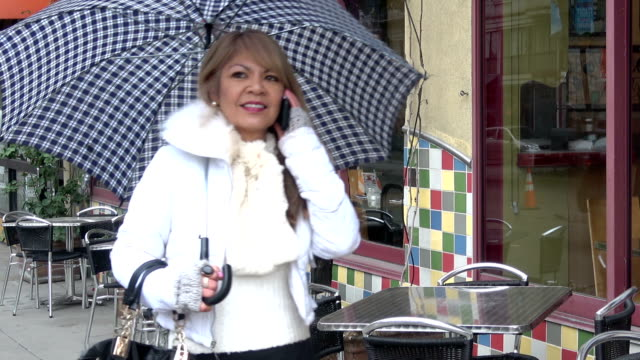 Attractive Woman with an umbrella is walking down the street talking on her mobile phone.