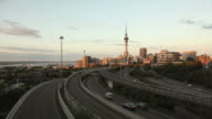 Auckland Skytower day to night Timelapse HD video. New Zealand