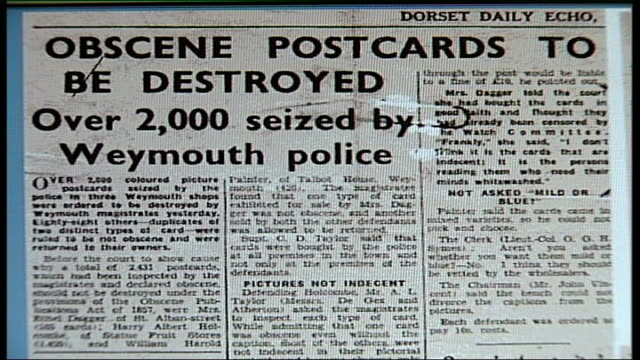 Auction of saucy postcards INT Close Shot Newspaper article with heading 'Obscene postcards to be destroyed'