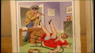 Auction of saucy postcards Leyburn Tennants Auctioneers INT Close Shot Postcard of robber and woman on floor with legs in air as voiceover caption...