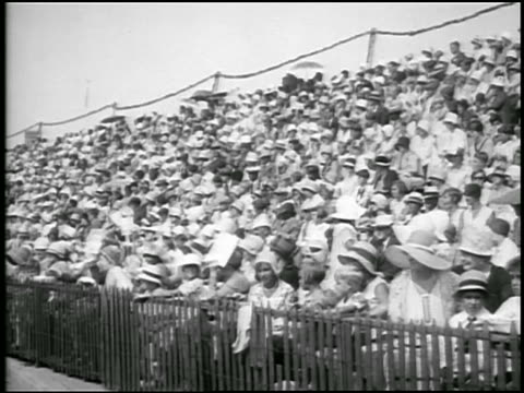 B/W 1929 audience in stands watching baby parade / Asbury Park, NY / newsreel