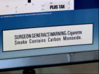 August 16 2006 CU Label saying Surgeon General's Warning Cigarette Smoke Contains Carbon Monoxide / United States