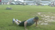 August 19 2008 ZI Army soldier performing pushup exercises / Fort Stewart Georgia United States