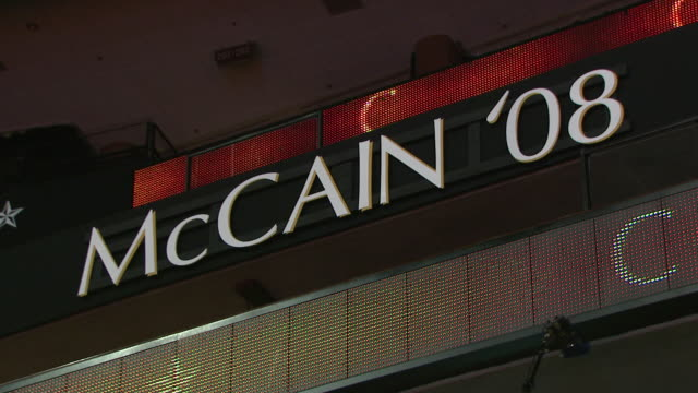 August 31 2008 LA Lit McCain '08 sign hanging in Xcel Energy Center for the Republican National Convention / St Paul Minnesota United States