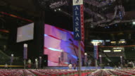 August 31 2008 PAN Rows of empty chairs and state signs facing huge screen in Xcel Energy Center before the Republican National Convention / St Paul...