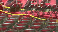 August 31 2008 PAN Rows of empty chairs and state signs in Xcel Energy Center before the Republican National Convention / St Paul Minnesota United...
