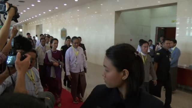 Aung San Suu Kyi arrives at the venue for a highlyanticipated speech amid growing international concern for Rohingya refugees Naypyidaw Burma...