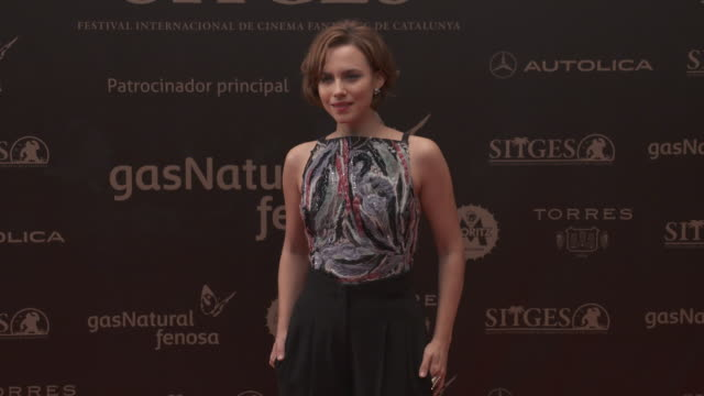 Aura Garrido poses on the red carpet for her latest film 'Volcania' at the 48th Film Festival on October 11 2015 in Sitges Spain