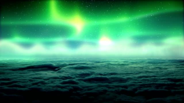 Aurora Borealis above clouds