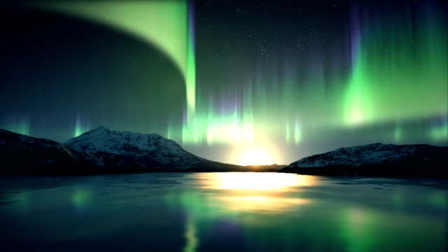 Aurora Borealis above ice
