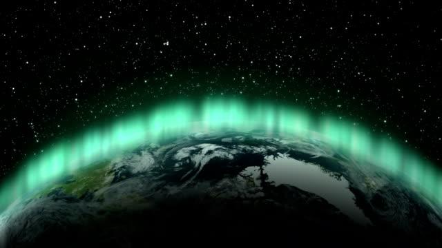 Aurora borealis over the world.