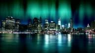 Aurora Polaris over Manhattan and New York Skyline