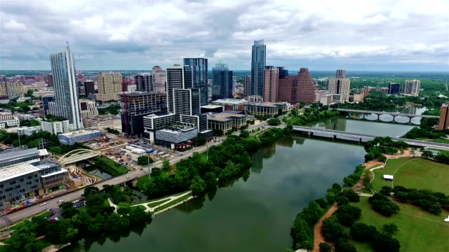 Austin Texas Flying over Colorado River Amazing Nice Day