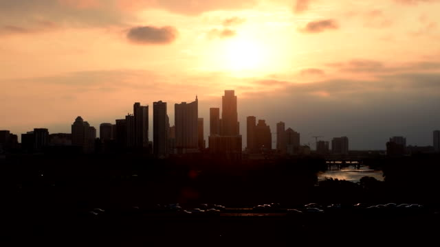 Austin Texas Skyline Timelapse Cars on Mopac Sunrises over Skyline