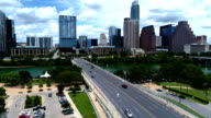 Austin Texas Skyline View during Sunny Day in Summer above 1st Street Bridge downtown Capital Cities