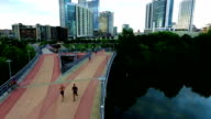 Austin Texas Walk Pedestrian Bridge Downtown View