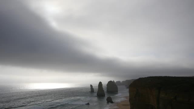 Australia Great Ocean Road 12 Apostles weak sun low cloud