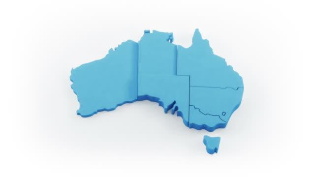 Australia map by states. White version.