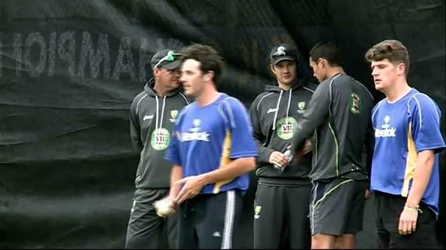 Australia practice session at Edgbaston ENGLAND Birmingham Edgbaston EXT GVs Australian cricketers practising batting in nets / GVs players in nets /...
