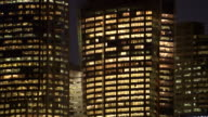 CU, Australia, Sydney, Illuminated office buildings at night