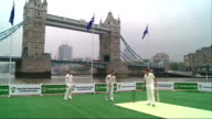 Australian cricket team train on floating pitch on River Thames ahead of The Ashes ENGLAND London Tower Bridge EXT General views of Australian...