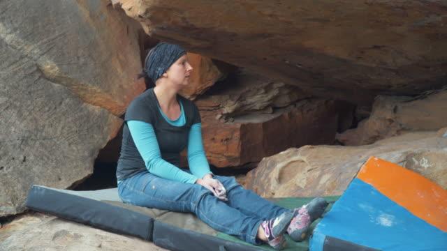 Australian Locals in Sport: A woman bouldering at Grampians, Victoria
