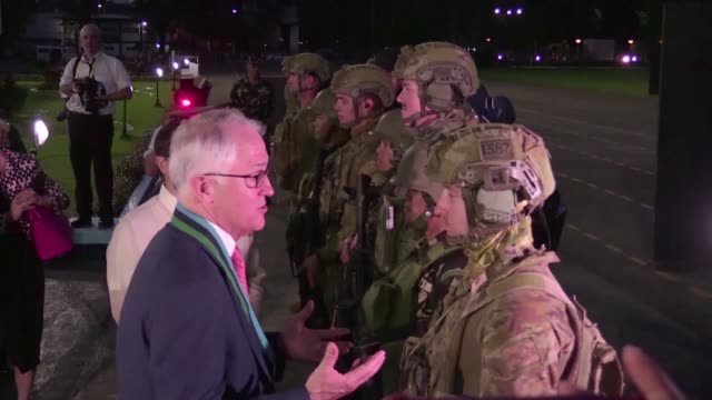 Australian Prime Minister Malcom Turnbull visits the Philippine military headquarters to witness the joint military demonstration of the Australian...