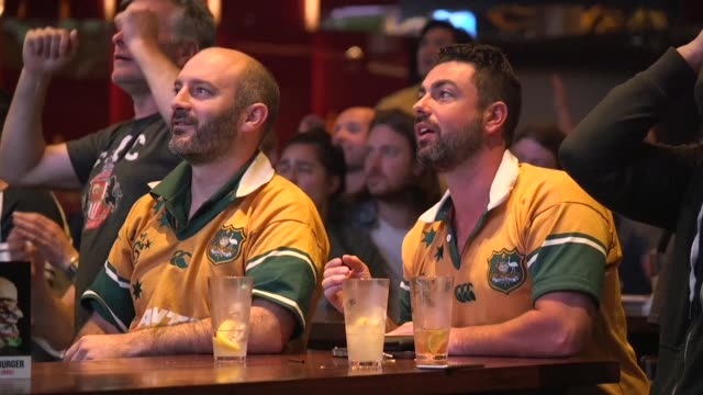 Australian rugby fans celebrate the Wallabies win over Argentina that sets up a keenly anticipated World Cup final showdown with their Bledisloe Cup...