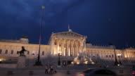 WS Austrian Parliament Building during storm at dusk / Vienna, Austria