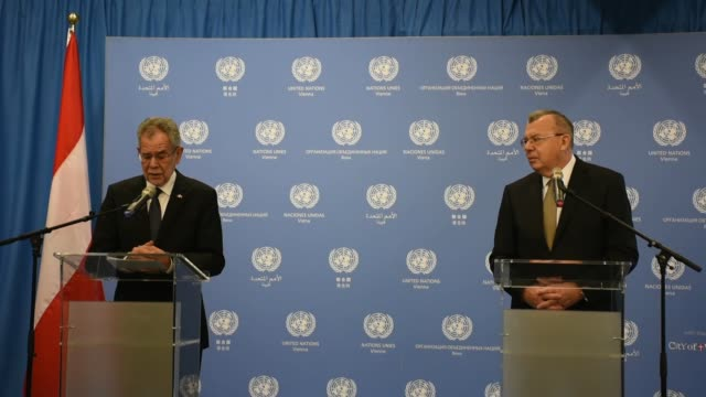 Austrian President Alexander Van der Bellen holds a press conference with United Nations Office on Drugs and Crime Executive Director Yury Fedotov...