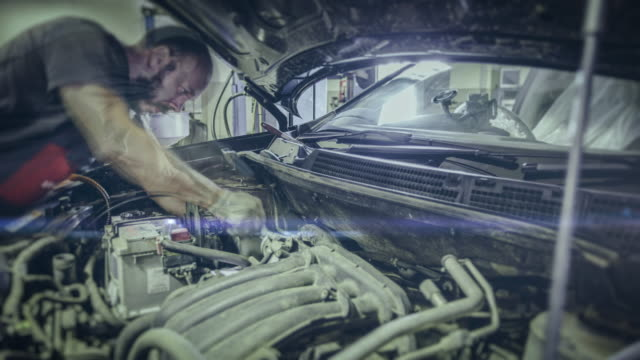 Automobile repair shop. 4K time lapse video