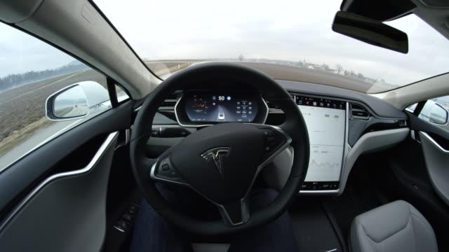 FPV: Autonomous self-steering autopilot car driving along the countryside road