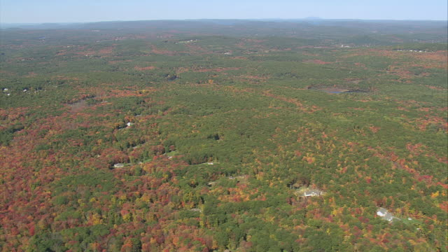 AERIAL Autumn colors of heavily wooded forest with scattered housing nestled among trees / Massachusetts, United States