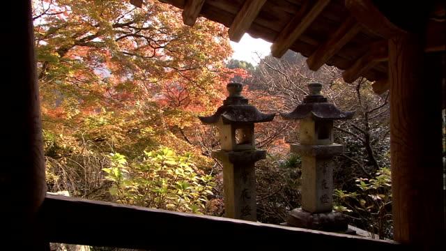 Autumn colours on landscape, stone lanterns in foreground Nara