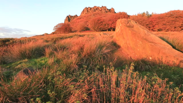 Autumn colours over Hen Cloud rocks and the Roaches Rocks,