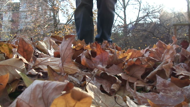 (HD1080i) Autumn: Kicking Leaves Towards Camera
