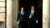 Treasury photocall / AERIALS of route to House of Commons ENGLAND London Whitehall Treasury ext GV Exterior of Treasury / GV George Osborne MP and...