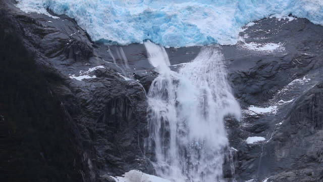 Avalanche resulting from Calving on steep Patagonian Glacier