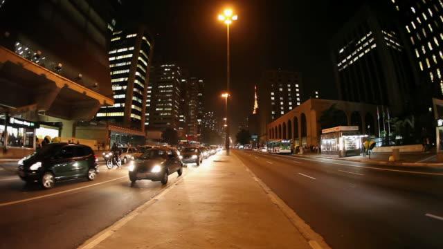 Ws Avenida Paulista Avenue At Night Sao Paulo Brazil Stock ...