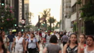 WS R/F Avenida paulista avenue people walking / Sao Paulo, Brazil