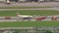 British Airways plane makes emergency landing at Heathrow Airport AIR VIEW / AERIAL British Airways Airbus A319 on runway after emergency landing...