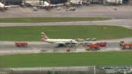 British Airways plane makes emergency landing at Heathrow Airport Heathrow Airport air views AIR VIEW / AERIAL British Airways Airbus A319 with...