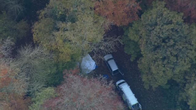 Midair collision between a helicopter and plane in Buckinghamshire AIR VIEW Forensic tent and emergency vehicles in woodland Fields and woodland
